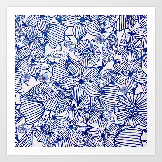 Hand painted royal blue white watercolor floral illustration Art Print