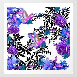 TOIL BLACK LEAF PALM PURPLE ROSES AND HUMMINGBIRDS Art Print