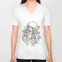 art nouveau V-neck T-shirts featuring Art Nouveau by Sweeney Boo