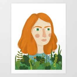 A girl and her plants Art Print