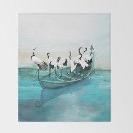 White Cranes Throw Blanket