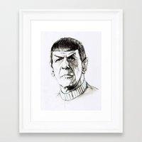 spock Framed Art Prints featuring Spock by Sara (aka Wisney)