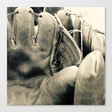 Vintage Baseball Gloves Canvas Print