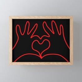Red Hands in Love Framed Mini Art Print