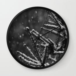 The Evergreen with Snow (Black and White) Wall Clock