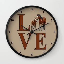 Love Horses Bay Mare and Cute Foal Wall Clock