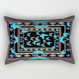 Blue Butterflies American Southwest Chacoal Grey Design Rectangular Pillow