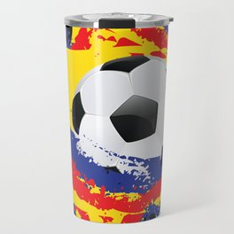 Football Ball and red, blue and yellow Strokes Travel Mug