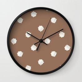 Round Bunny Pattern Cream Brown Wall Clock