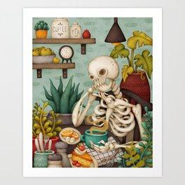 Endless Thoughts. Kitchen illustration with skeleton Art Print