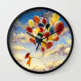 Fantasy oil painting happiness young woman girl with colorful balloons on clouds in sky. Romantic ac Wall Clock