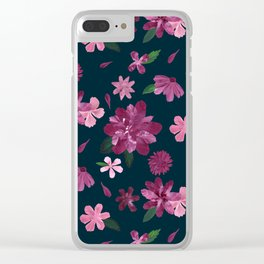 Burgundy Blush Floral Pattern Clear iPhone Case