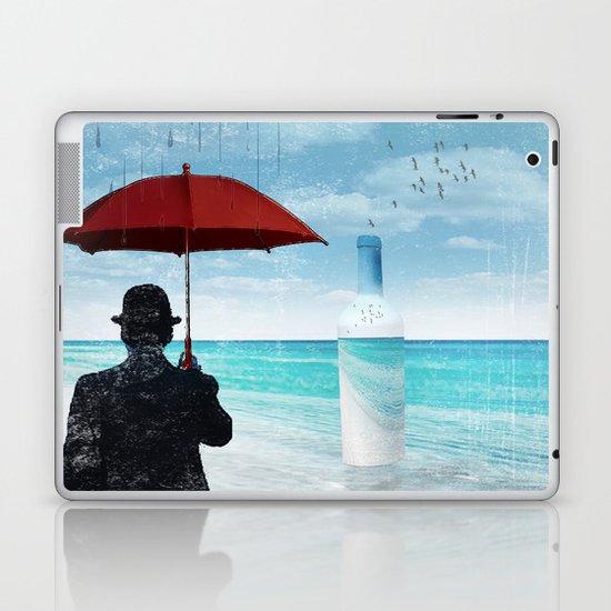 Chaplin at the beach in the rian Laptop & iPad Skin