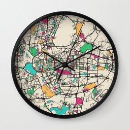 Colorful City Maps: Guangzhou, China Wall Clock
