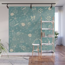 Seamless Winter Snowy Background filed with snow and snowflakes. Winter,  Wall Mural