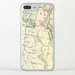 Vintage Map of the South West Of The United States Clear iPhone Case