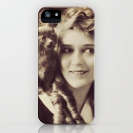 Mary Pickford - Vintage Lady with kitten iPhone Case