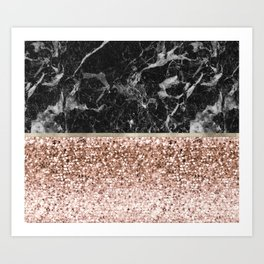Warm chromatic - rose gold and black marble Art Print