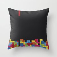 tetris Throw Pillows featuring Tetris by Psocy Shop