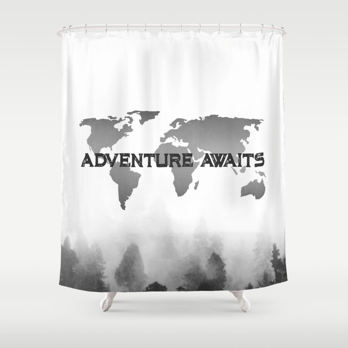 Adventure awaits morning forest black and white world map shower adventure awaits morning forest black and white world map shower curtain gumiabroncs Gallery