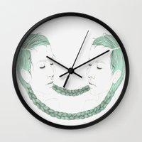 gemini Wall Clocks featuring Gemini by Chrysta Kay
