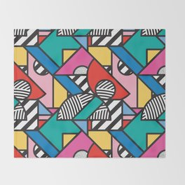 Colorful Memphis Modern Geometric Shapes - Tribal Kente African Aztec Throw Blanket