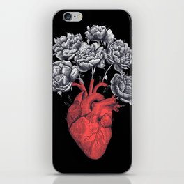 Heart with peonies on black iPhone Skin