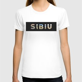 sibiu images in text black T-shirt