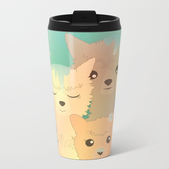 Alpaca Family I - Mint Green Snow Background Metal Travel Mug