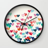 teal Wall Clocks featuring Heart Connections - watercolor painting by micklyn