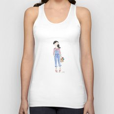 Overalls & Red Stripes Unisex Tank Top