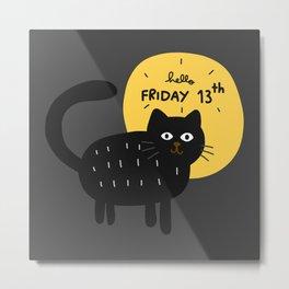 black cat friday 13 mooon Metal Print
