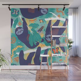 Swingin' Sloths in Jungle Green Wall Mural