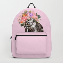Owl with Flowers Crown in Pink Backpack