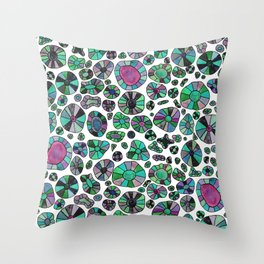 Barca Dots green/pink Throw Pillow