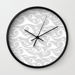 Waves - White on Gray Wall Clock