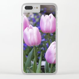 Spring gathering of pink tulips Clear iPhone Case