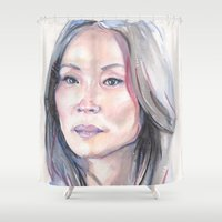 emma watson Shower Curtains featuring Joan Watson by Rosita Maria