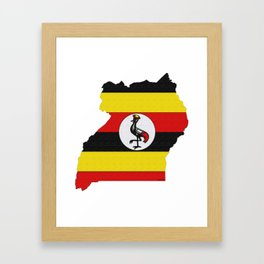Uganda Map with Ugandan Flag Framed Art Print