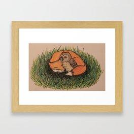 Fox & Owl Framed Art Print