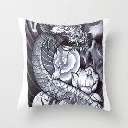 Dragon & Skulls Throw Pillow