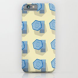 Sun umbrellas and beds on the beach iPhone Case