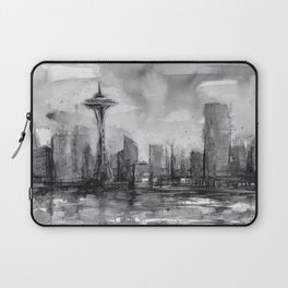 Seattle Skyline Painting Watercolor Black and White Space Needle Laptop Sleeve