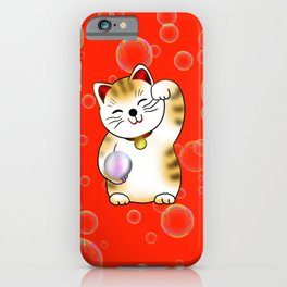 Lucky cat, calico maneki iPhone Case