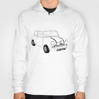 mini cooper Hoodies featuring The Italian Job Red Mini Cooper by Martin Lucas