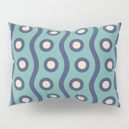 Mid Century Modern Rising Bubbles Pattern Turquoise and Blue Pillow Sham