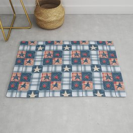 Blue denim plaid patchwork . Rug