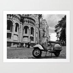 Moped outside the Sacre Coeur, Paris Art Print