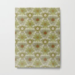 Vintage English Garden Pattern Metal Print