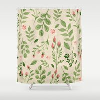 vintage flowers Shower Curtains featuring Vintage Flowers by Blue Daydreamer